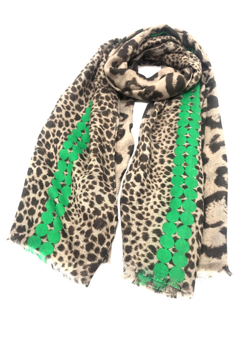 ROMI - Animal Print Scarf - Green
