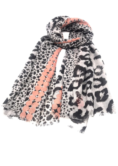 ROMI - Animal Print Scarf - Rose