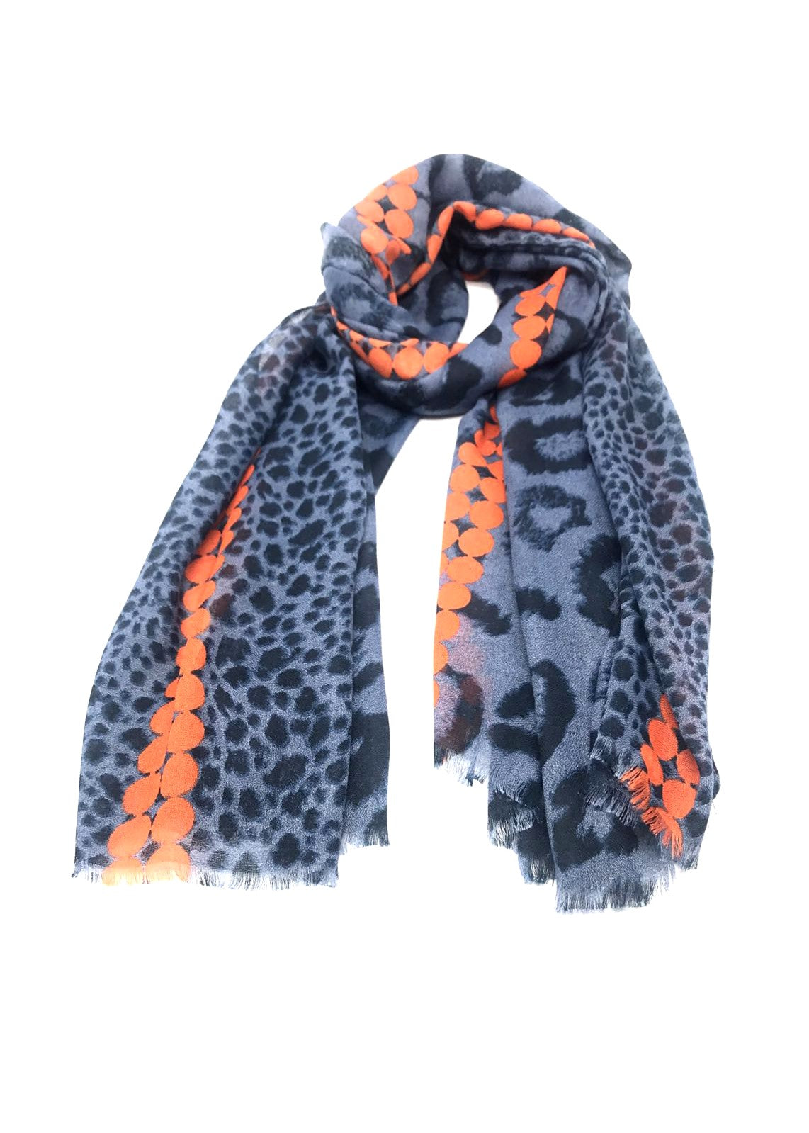 ROMI - Animal Print Scarf - Blue
