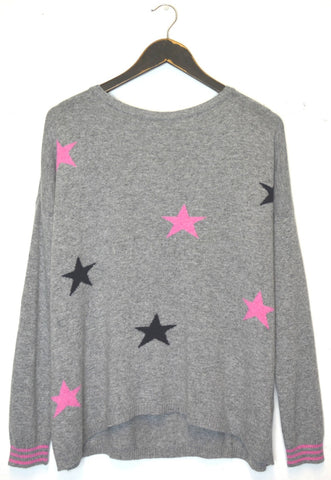 CONSTANCE - Multi Star Jumper - Navy/Grey/ Fuscia
