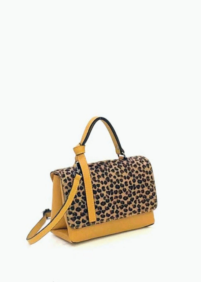 MARGOT - Small Leopard Print Leather Shoulder Bag
