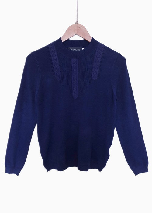 AGNETA -  Pattern Front Pullover - Navy