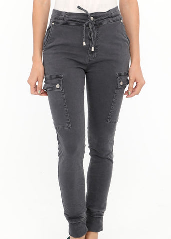 INGA  - Skinny Jeans with Zip & Buttons - Denim