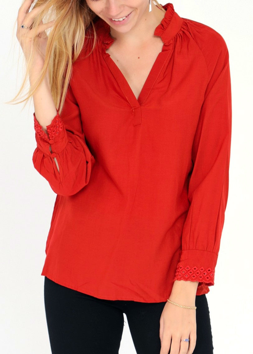 EVA - Cotton Blouse - Red