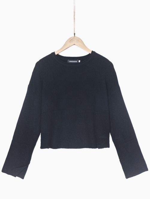 SASHA | Wide Sleeve Cropped Jumper | Black