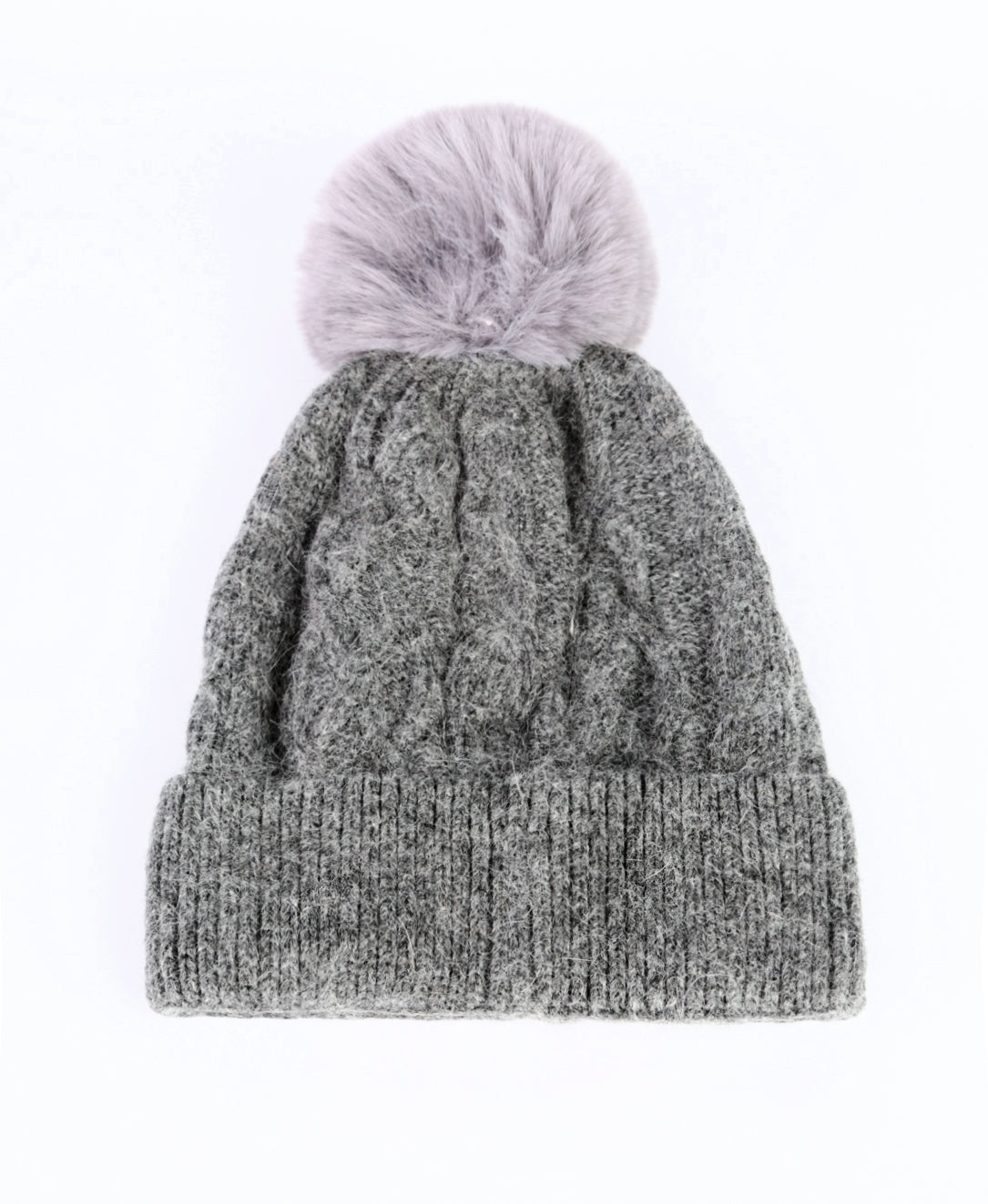 ANYA - Cashmere Bobble Hat - Grey
