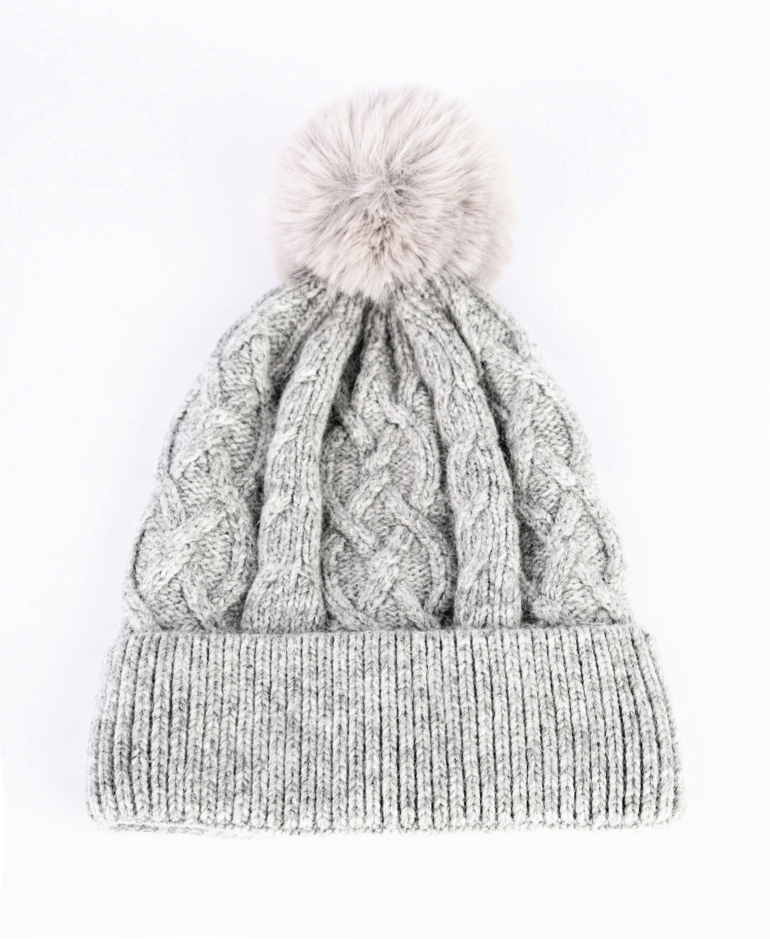 ANYA - Cashmere Bobble Hat - Light Grey