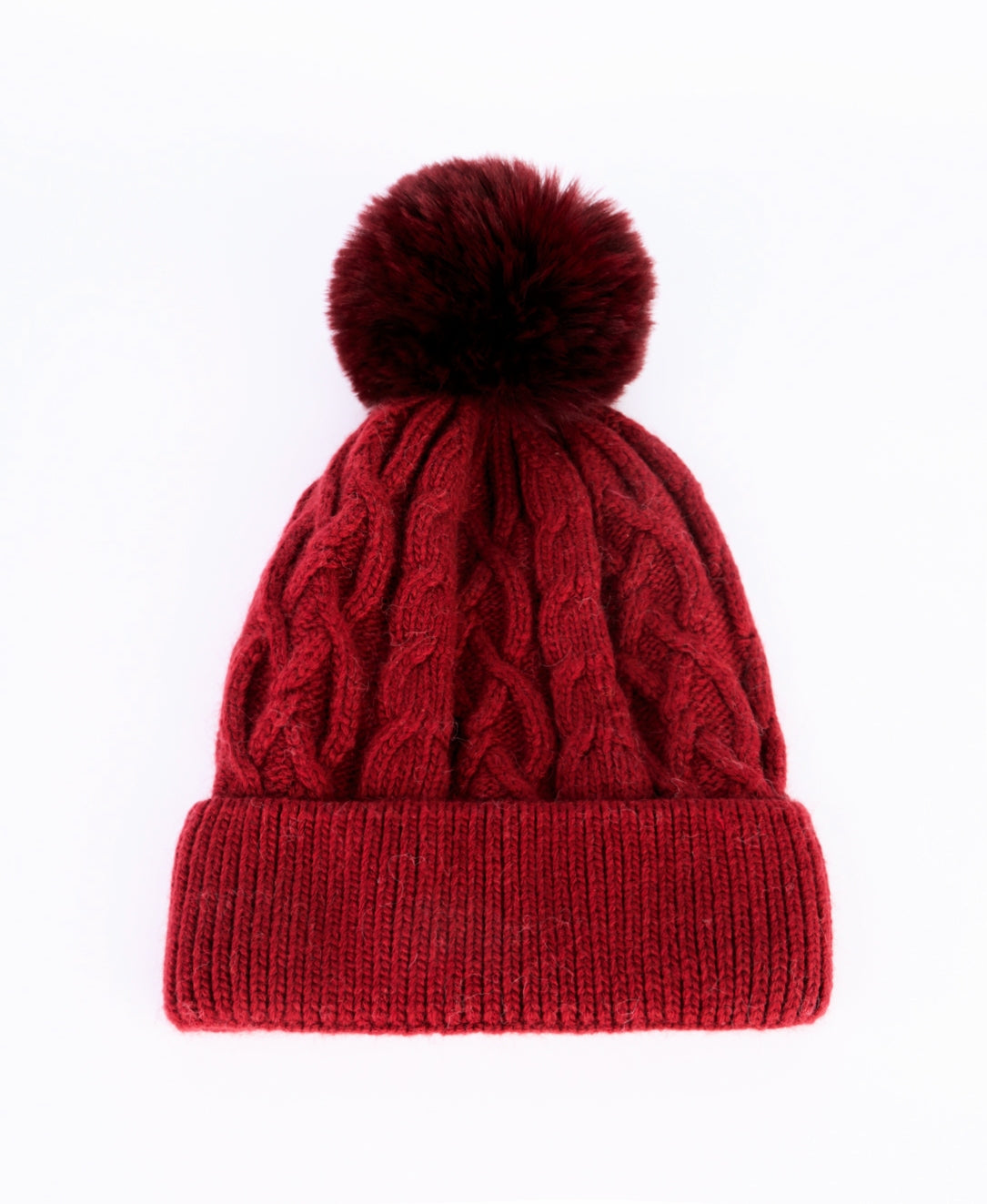 ANYA - Cashmere Bobble Hat - Deep Red