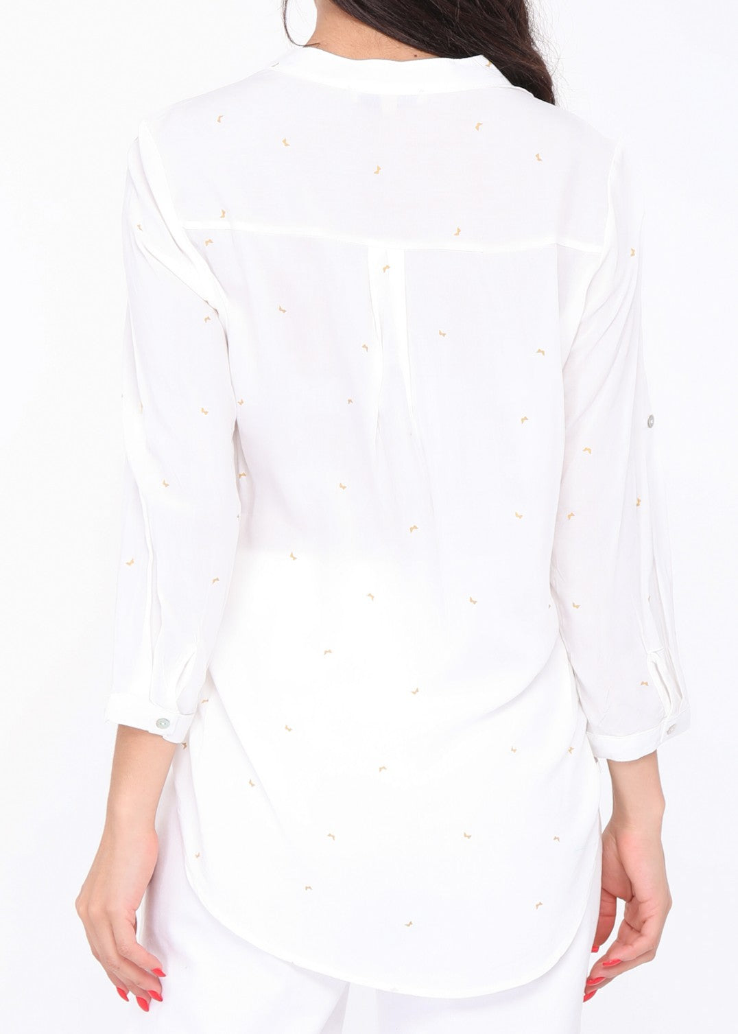MARION - Butterfly Patterned Blouse - White