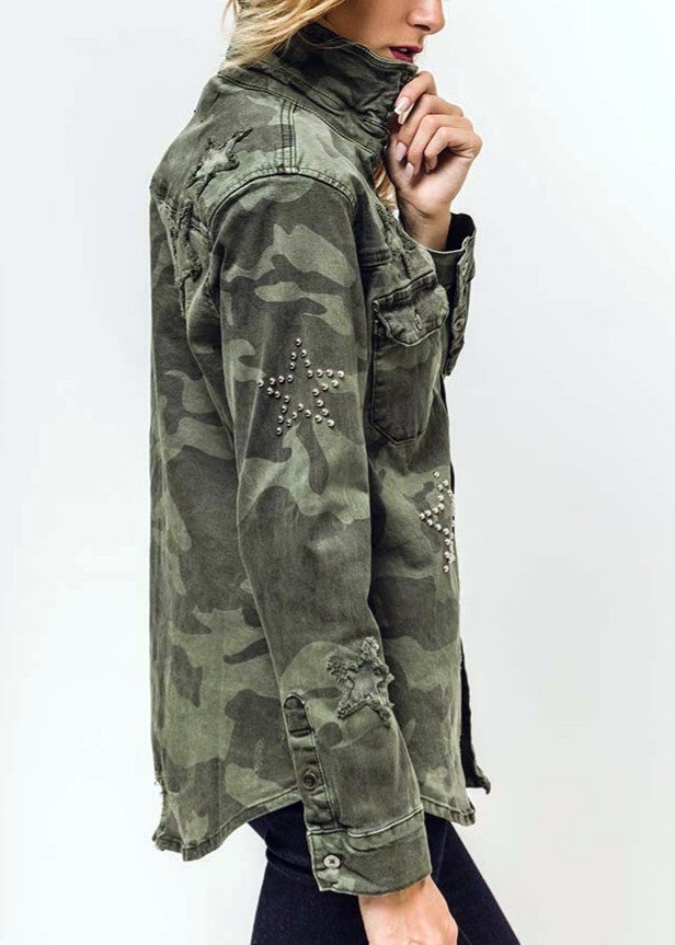 SASHA - Star Stud Camo Shirt-Jacket