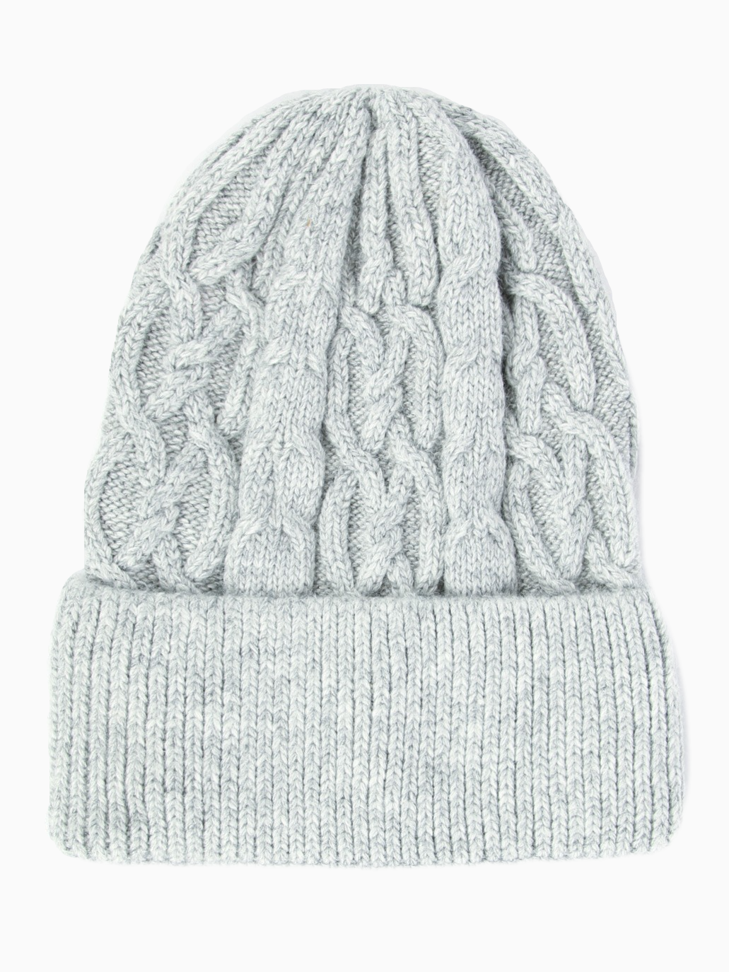 TESS - Cashmere Cable Knit Beanie - Grey