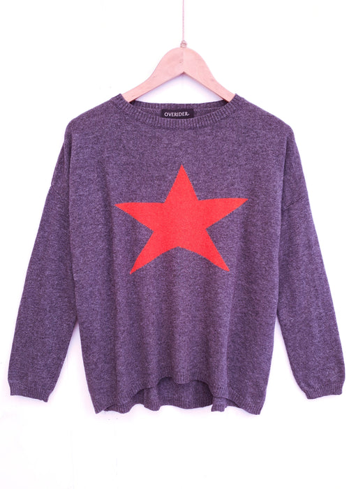 STAR - Cashmere Blend Jumper - Charcoal/Orange