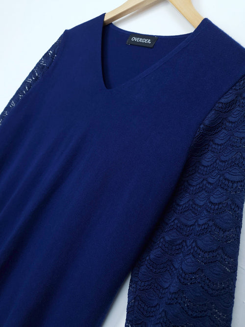 SOPHIE | Lace Sleeve Jumper | Navy
