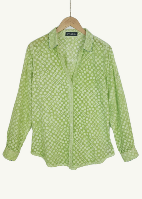 TALITA - Summer Patterned Shirt - Fresh Lime
