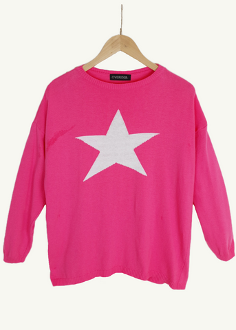 CELESTE - Multi Star Jumper - Navy / Fuscia
