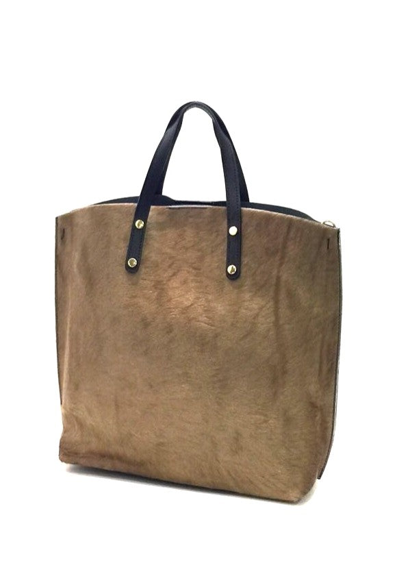 ELIN - Cowhide Leather Bag - Taupe