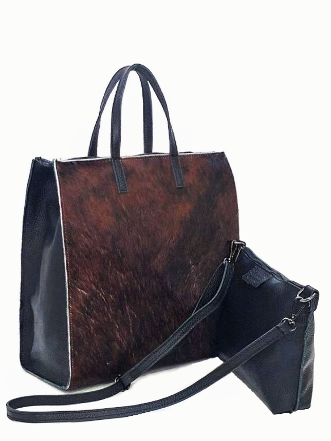 LUCIDA | Cowhide Leather Shopper Bag | Brown
