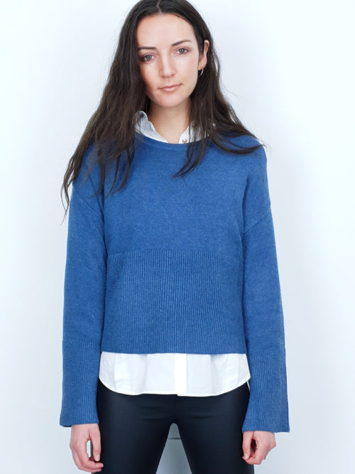 SASHA | Wide Sleeve Cropped Jumper | Blue