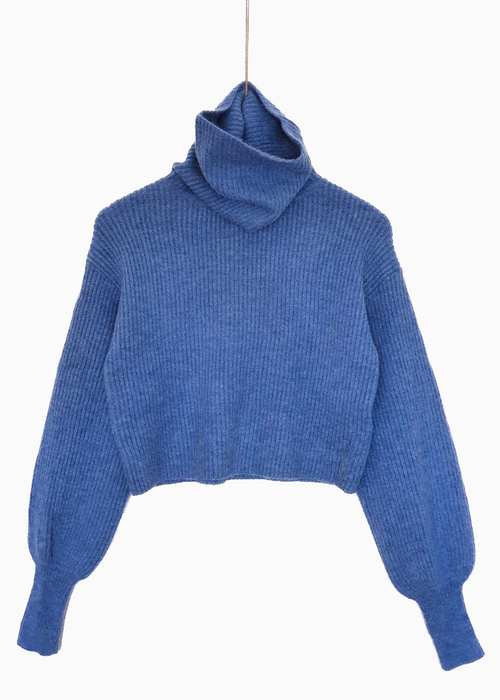 MALLORY | Long Neck Crop Jumper | Blue