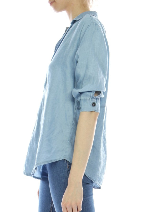 ANNA - Denim Shirt - Pale Blue