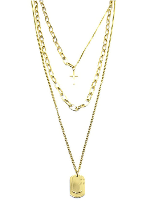 Dogtags & Cross Layered Necklace | Gold