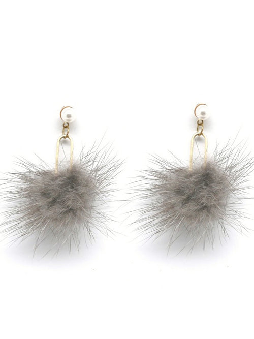 Furry Earrings - Grey