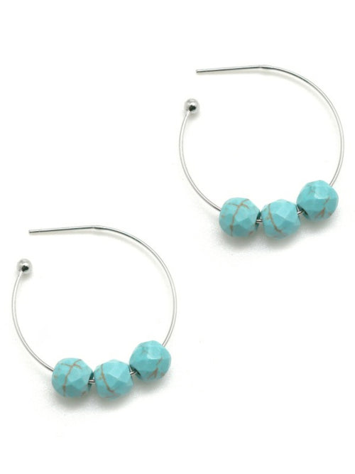 Genuine Turquoise Stone Earrings