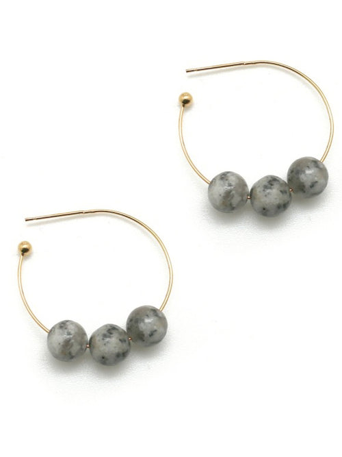 Stone Earrings - Grey