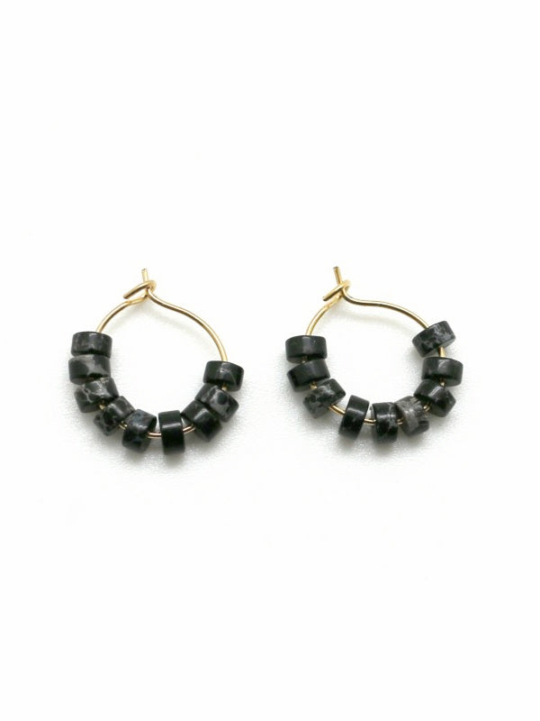 Genuine Black Jasper Stone Earrings