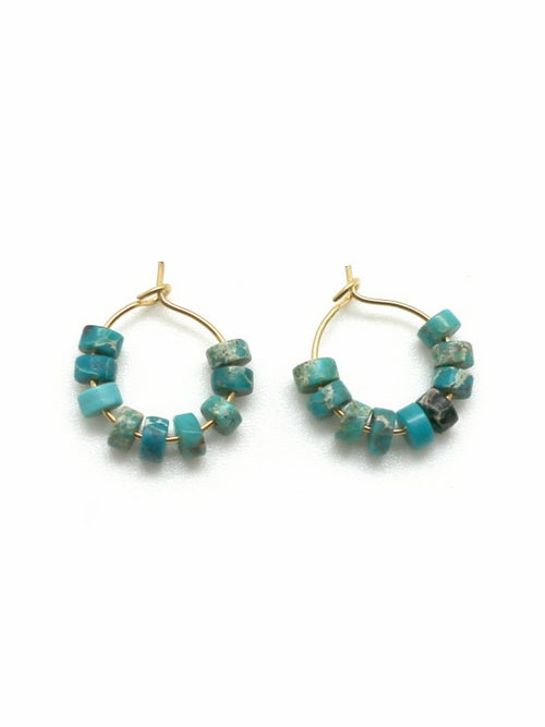 Genuine Jasper & Turquoise Stone Earrings