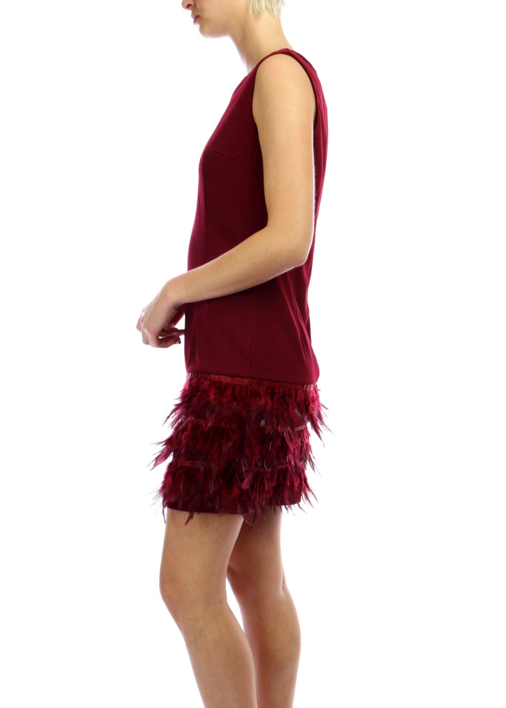 MIA - Feather Dress  Burgundy