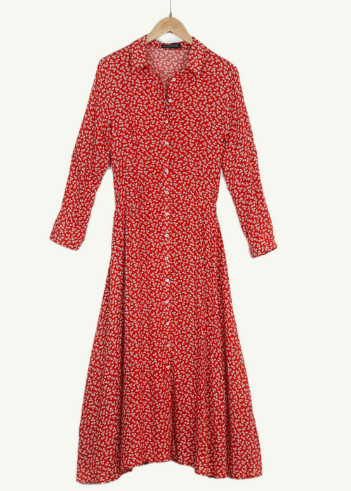 INES - Floral Cotton Dress - Red