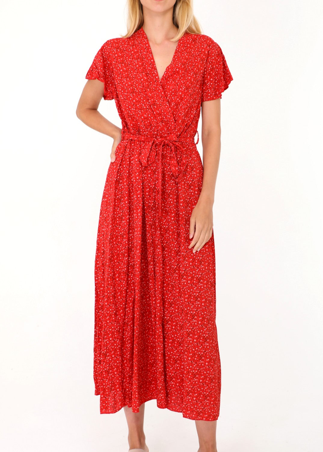 COLETTE - Floral Summer Dress - Red
