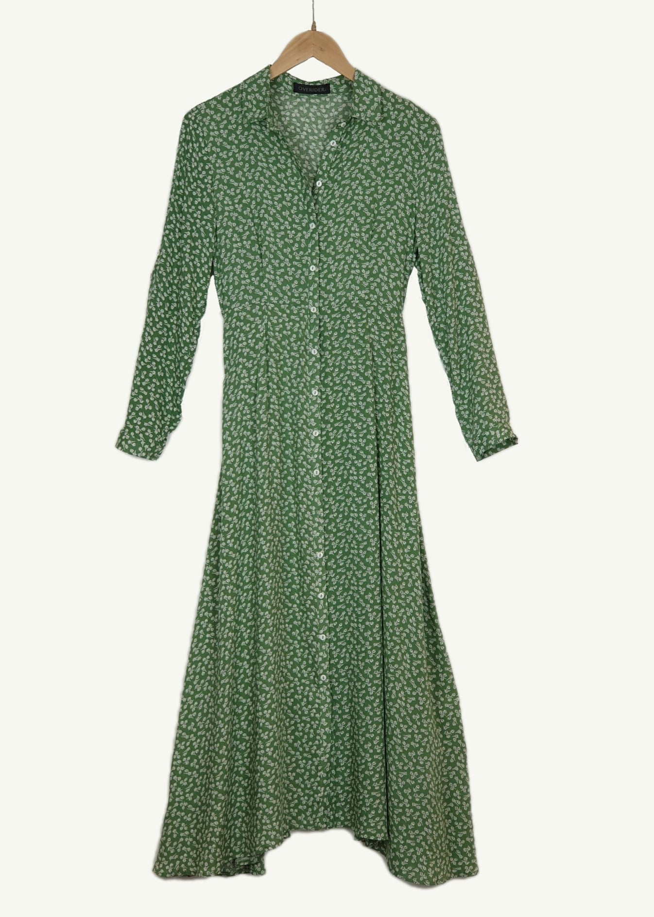 INES - Floral Cotton Dress - Green