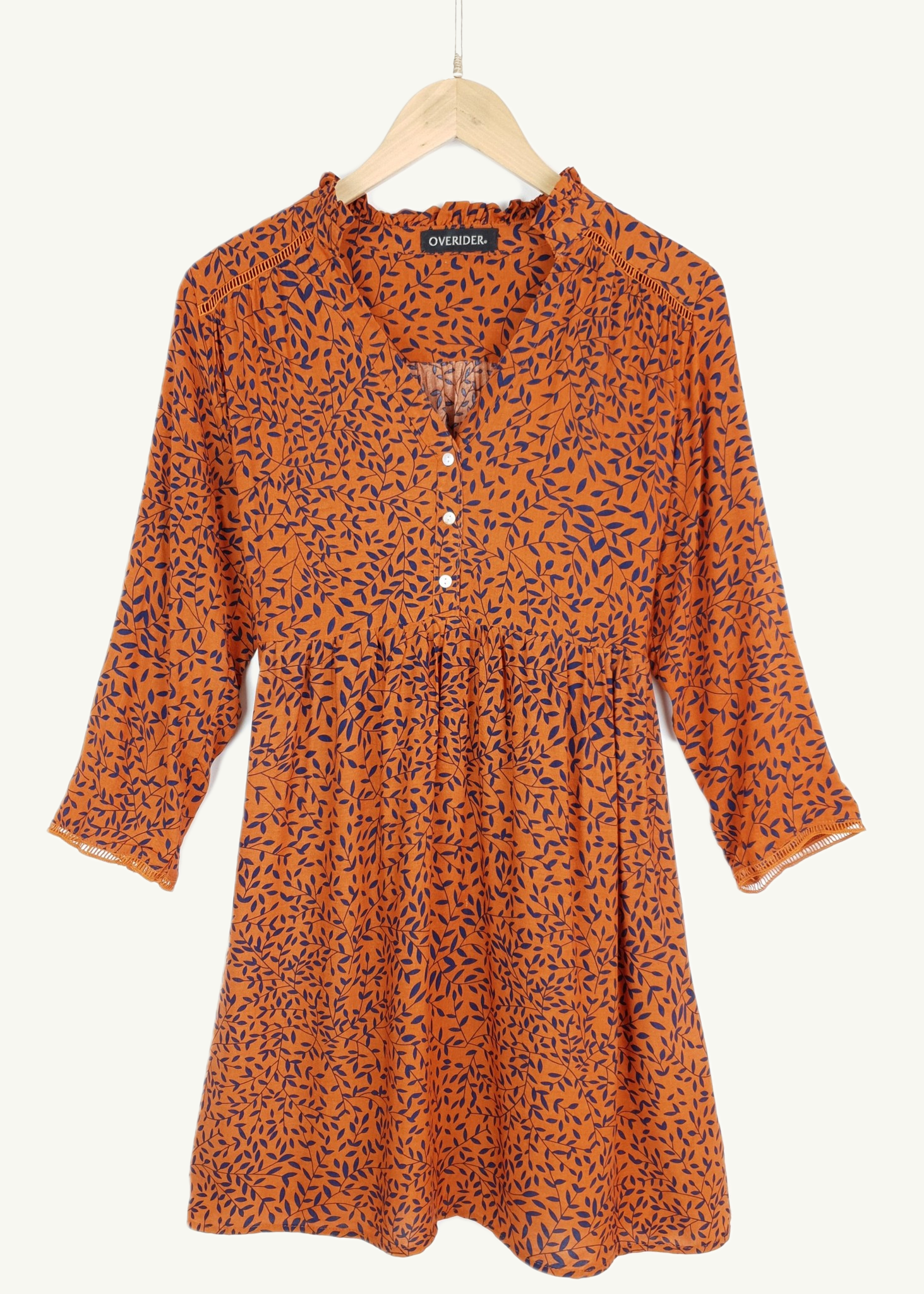 LOUISE - Leaf Pattern Tunic - Rust