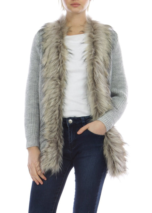 JENA - Fur Collar Cardigan - Grey