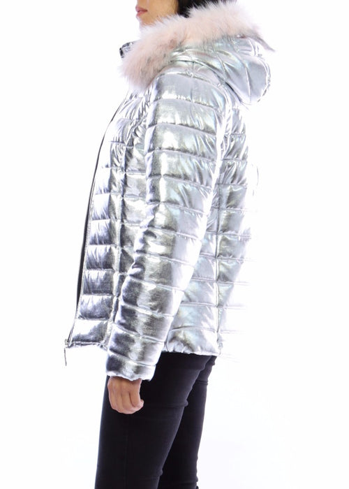 CHRISTIE - Quilted Jacket with Hood -Silver