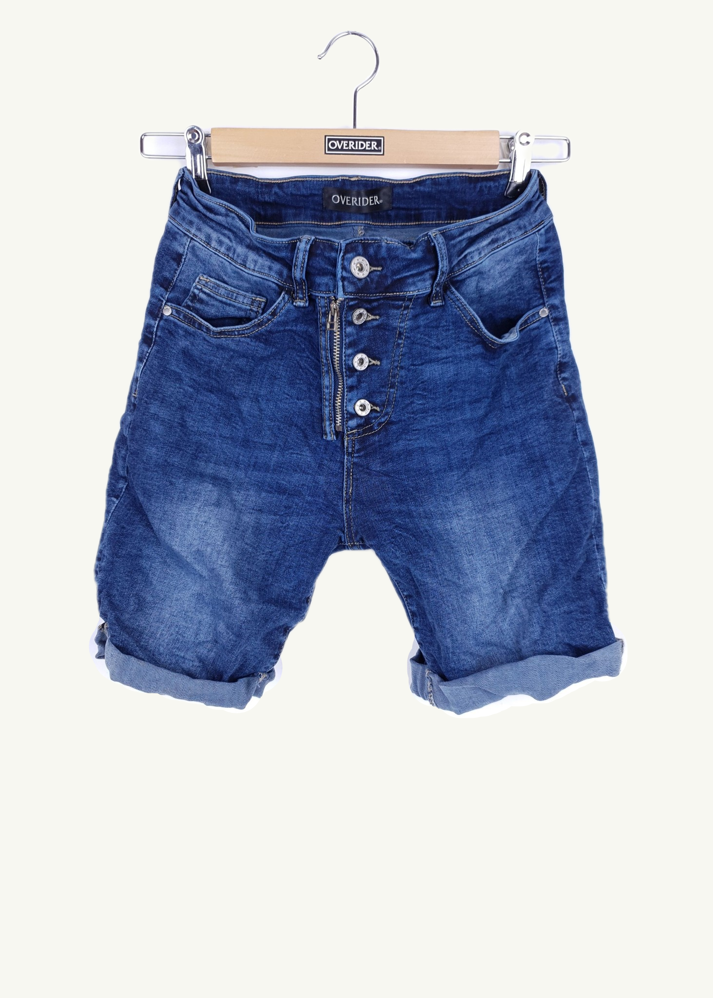 INGA  - Denim Shorts with Zip & Buttons - Indigo