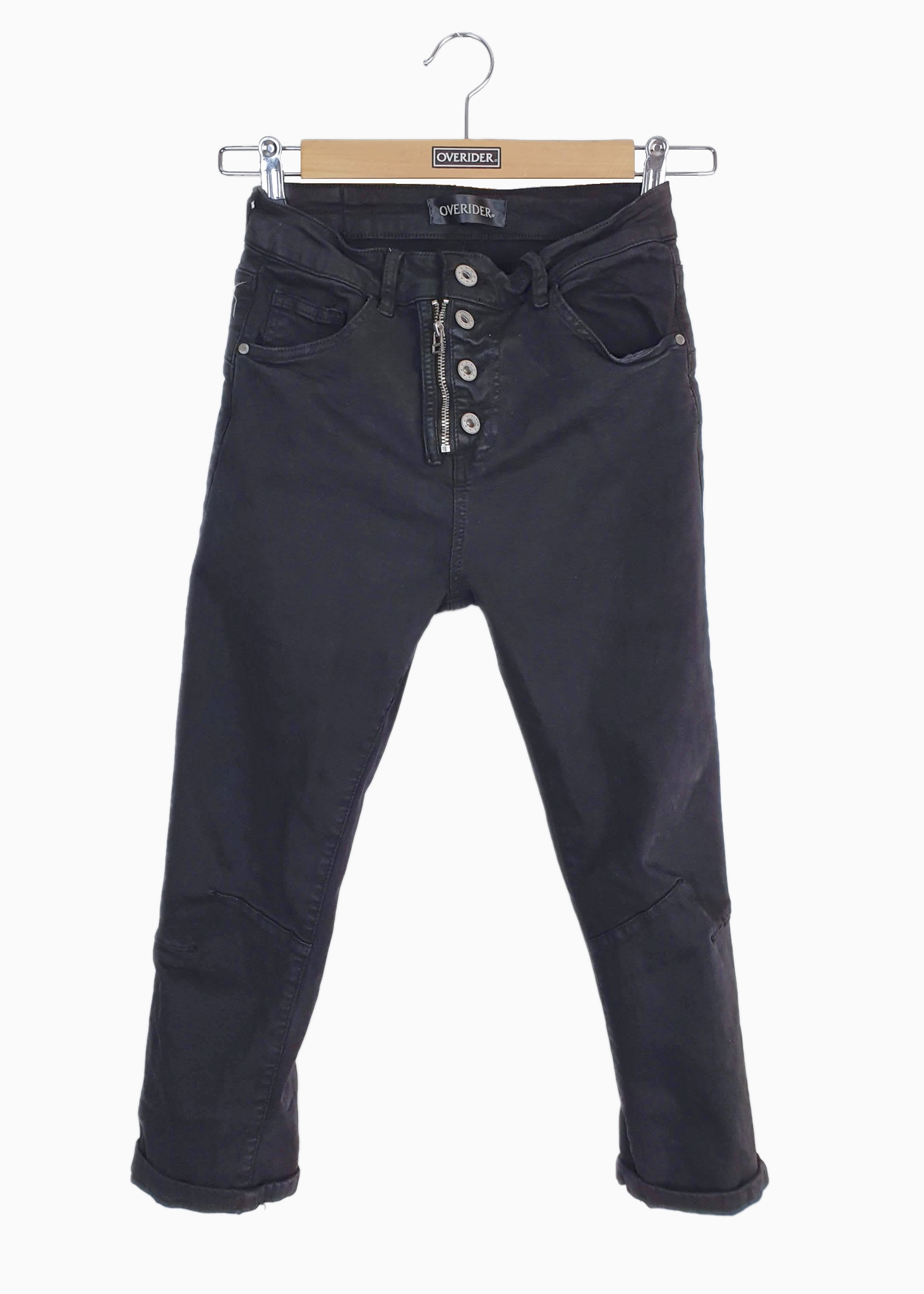 INGA 'C' - Cropped Skinny Jeans with Zip & Buttons - Black