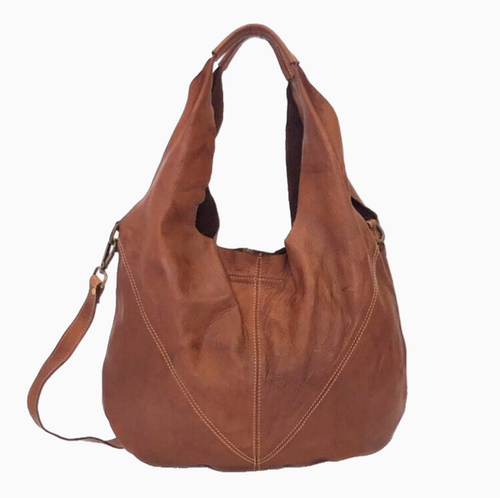 LILITH | Washed Leather Slouch Bag | Tan