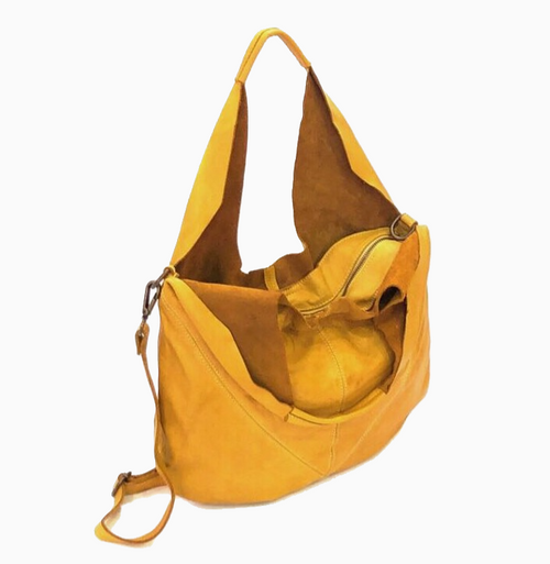 LILITH | Washed Leather Slouch Bag | Yellow Ochre