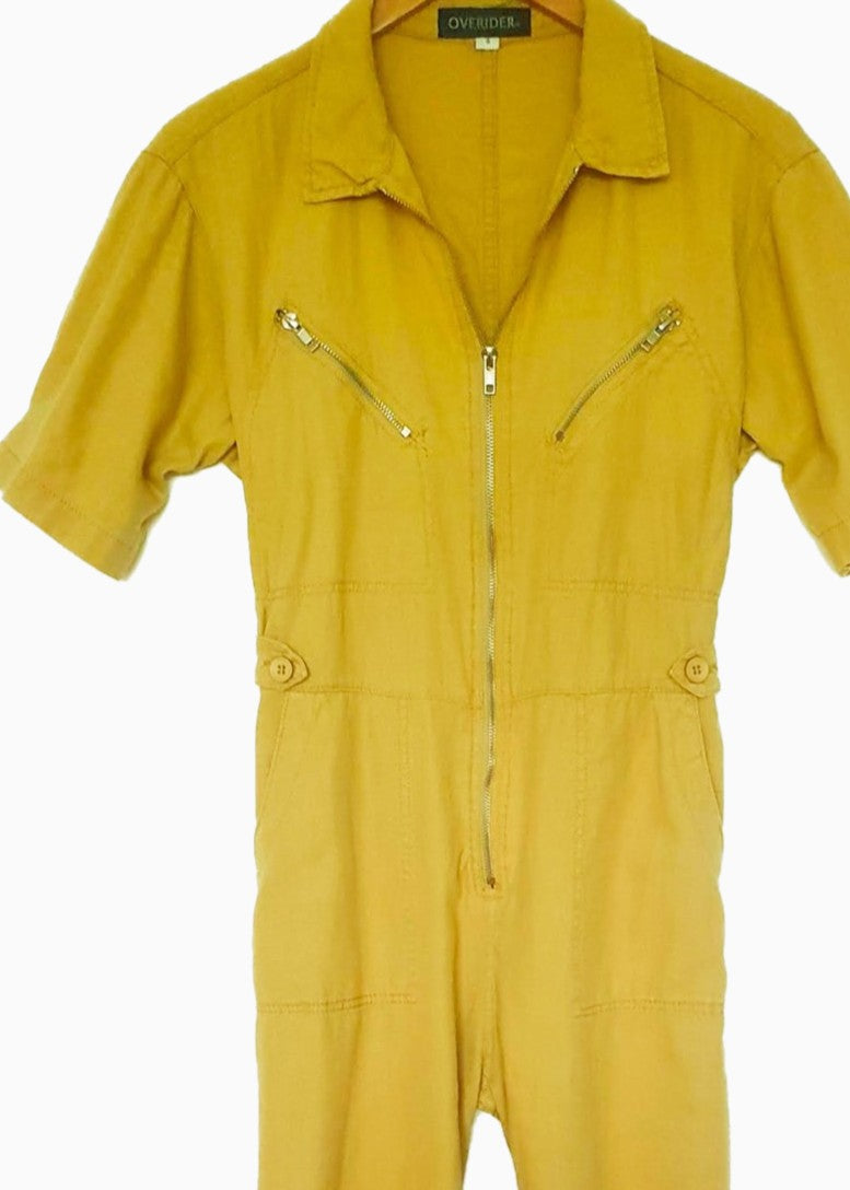 GISELE - Zip Cotton Jumpsuit - Mustard Yellow