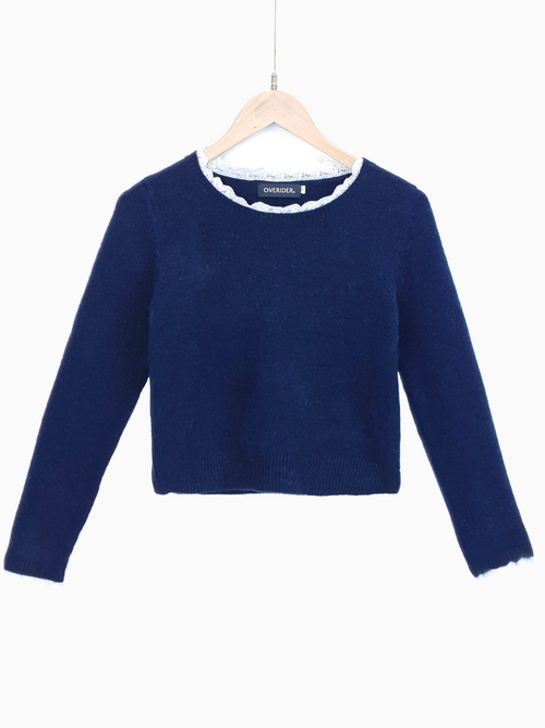 TALYA | Lace Collar Jumper | Navy