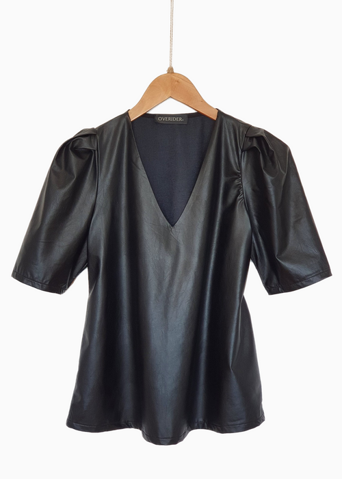 ELOISE - Vegan Leather V Neck Top - Black