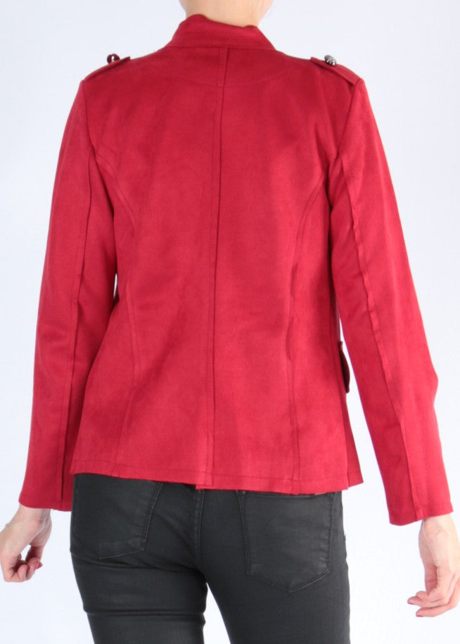 CALA - Military Vegan Suede Jacket - Red