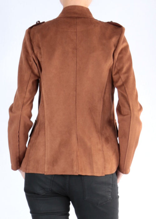 CALA - Military Vegan Suede Jacket - Tobacco
