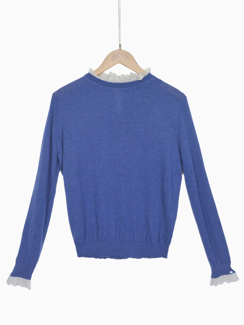 TALYA | Lace Collar Jumper | Blue