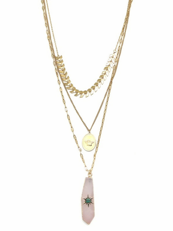 3 Row Rose Malachite Quartz Crystal Necklace