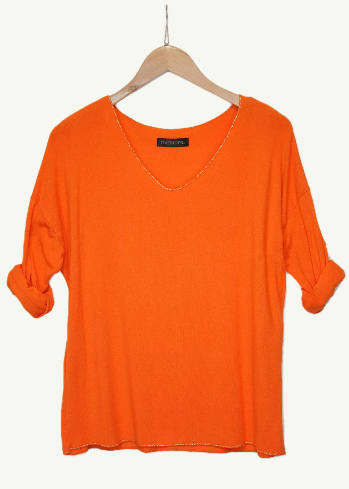 ELISE - 'V' Neck Sparkle  Knit Top - Orange