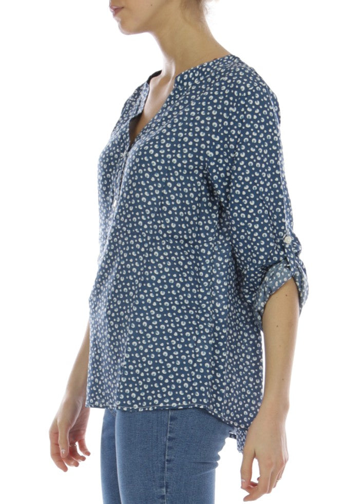 HANA - Patterned Shirt - Blue